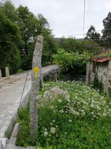 Caminho Portugues Tag 4 - gelber Pfeil an Stein